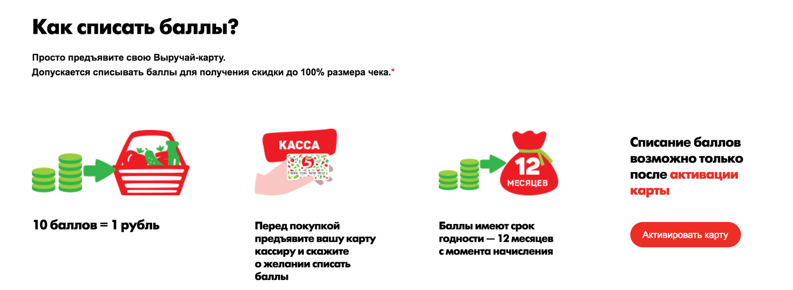 сколько рублей стоит 1 балл в пятерочке